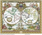 Map series 6 cross stitch kits, 14ct, Egyptian cotton thread 234x194 stitch, 53x46 cm cross stitch kits