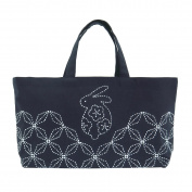Comolife Made in Japan SASHIKO Lovely Rabbit Mini Tote Bag Needlework Kit , Finished Size : L 8.66 x W 16.53 x G 10cm