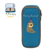 Fymanlu Silly Funky Party Animal Sloth Big Capacity Pencil Case Bag Portable Stylish Nylon Pen Cases