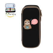 Fymanlu Cute Cartoon Coffee Sloth Big Capacity Pencil Case Bag Portable Stylish Nylon Pen Cases