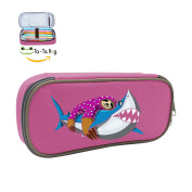 Fymanlu Lazy Sloth Riding Shark Big Capacity Pencil Case Bag Portable Stylish Nylon Pen Cases