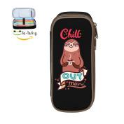 Fymanlu Chill Sloth Big Capacity Pencil Case Bag Portable Stylish Nylon Pen Cases