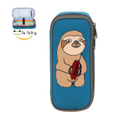 Fymanlu Funny Sloth Playing Cymbals Big Capacity Pencil Case Bag Portable Stylish Nylon Pen Cases