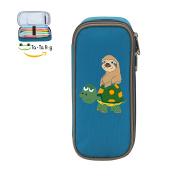 Fymanlu Funny Sloth Riding Turtle Big Capacity Pencil Case Bag Portable Stylish Nylon Pen Cases