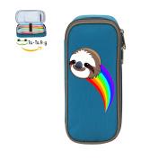 Fymanlu Rainbow Sloth Big Capacity Pencil Case Bag Portable Stylish Nylon Pen Cases