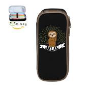 Fymanlu Relax Sloth Big Capacity Pencil Case Bag Portable Stylish Nylon Pen Cases