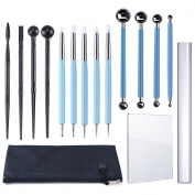 Caydo 15 Pieces Carving Modelling Tool Set Including 4 Pieces Ball Stylus Clay Sculpting Tools, 5 Pieces Dual-Ended Design Pottery Tools, 4 Pieces Ball Rod Stylus Modelling Tools for Sculpture Pottery