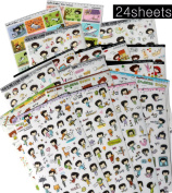 ppappappiyo Stickers 24sheets Decorative Scrapbooking Craft Sticker Diary Album Sticker Adhesive