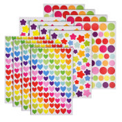 Frienda 2000 Pieces Colourful Decorative Coloured Dots, Heart, Stars Adhesive Sticker Decorative Labels Craft Stickers for Scrapbook, Card Making, Embellish Diary, Home Decoration, Labelling, 30 Sheets