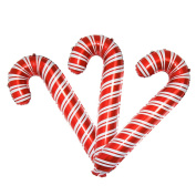 3 Pack Christmas Candy Cane Aluminium Film Foil Balloons Big Holiday Balloons for Xmas Home Party Decoration