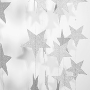 Silver Star Garland-Takefuns Silvery Christmas galaxy banner,Twinkle Little Star String garland Christmas garland for Wedding Birthday Party Baby Shower Decorations