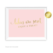 Andaz Press Baby Shower Party Signs, Blush Pink with Metallic Gold Ink, 22cm x 28cm , Babies Are Sweet, Enjoy a Treat Sign, 1-Pack, Unframed, Dessert Table Candy Buffet