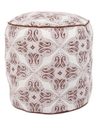 Indian Ottoman Pouffe Off White and Brown Bohemian Cushion Foot Stool Embellished Cotton Pouffe Ottoman Cover Home Decor Living Room Foot Stool Chair By Rajrang
