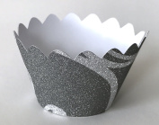 12 pcs MINI (Small) Glitter Charcoal and White Scallop Cupcake Wrappers