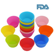 40x Silicone Baking Cups Reusable Non-stick Cupcake Liners Moulds