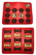 Youzpin 2Pcs Puppy Paws & Bones Silicone Baking Moulds Pan Set, Silicone Baking Biscuit Cake Making Moulds Cake Stencil TrayKitchen Cooking Bareware Tools