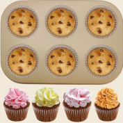 Ecosin Fashion 6 Cups Cake Carbon Steel Nonstick Bakeware Pan Tray Mould