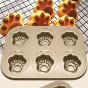 Ecosin Baking Pan 6 Cups Cake Carbon Steel Nonstick Bakeware Pan Tray Mould