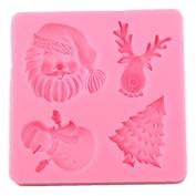 Kicode Silicone Christmas Santa Tree Reindeer Snowman Fondant Cake Decorating Mould Pink DIY Kitchen Baking Tool