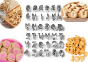 JJMG NEW 36-piece Letters and Numbers Shape Cookie Stainless Steel Cutters Set – Cake Tool Decorating Set & Crafts