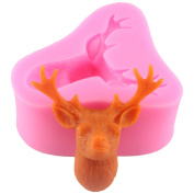 Mujiang 3D Silicone Stag's Head Fondant Moulds Christmas Deer Cake Decorating Tools Elk Cake Topper
