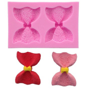 WCIC 2 Bow Knot Silicone Fondant Cake Mould Decorating Tool 8.9cm x 5.7cm x 1.5cm Pink