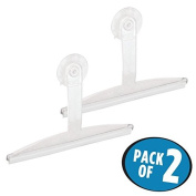 mDesign Bathroom Shower Squeegee with Suction Storage Hook - Pack of 2, 30cm Each, Clear