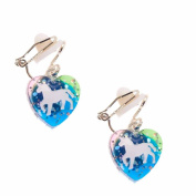 Claire's Girl's Unicorn Heart Drop Clip On Earrings