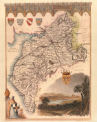 Cumberland Reproduction Antique Map, Retro Reproduction Cumberland Map, Thomas Moule Maps