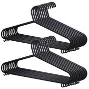 20x Adult Coat Hangers Black Colour Strong Plastic Clothes with Suit Trouser Bar & Lips