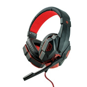 Pevor Gaming E-sport Headset with Mic for PC PS4 Xbox One, Bass Over-Ear Game Headphones with Mic LED Lights and Volume Control for Laptop Mac iPad Computer