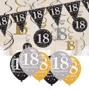 18th Birthday Decorations Black and Gold