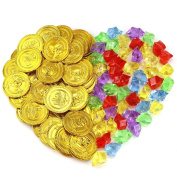 Biging 50 Pieces Pirate Gold Coins and 50 Pieces Pirate Gems Jewellery Playset Pack Party Favour