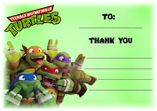 Teenage Mutant Ninja Turtles Thank You For Coming Birthday Party Cards - Teenage Mutant Ninja Turtle Landscape Design - Party Supplies / Accessories (Pack of 12 A6 Thank You Cards)