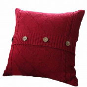 Keepwin Cushion Cover 45 x 45cm, Vintage Knitting Button Warm Decorative Pillow Cover Case with Hidden Zipper for Sofa Bedroom Home Decor - Best Christmas Gift, New Year Gift, Halloween Gift