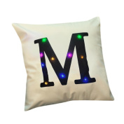 Indexp LED Lighting 26 Letters Printing Christmas Festival Throw Cushion Cover Sofa Home Decoration Pillow case