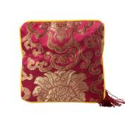 Toruiwa Pouch Chinese Silk Brocade Padded Jewellery Pouch Bag Coin Purse Pockets Storage Bag with Tassel Zipper 1pcs Colour Random