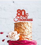 80 & Fabulous - 80th Birthday Cake Topper - Swirly - Glitter Red