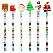 24 Kids Christmas Xmas Pencils & Eraser Toppers & FREE STICKERS Party Bag Filler HB