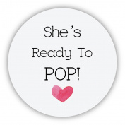 eKunSTreet ® 48x Round - She's Ready to POP! - Heart Baby Shower Favour Stickers, 4cm Glossy About to Pop Favour Popcorn Labels - UNI 062
