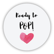 eKunSTreet ® 48x Glossy Round - Ready to POP! Stickers - Love Heart Baby Shower Favour Stickers, 4cm About to Pop Favour Popcorn Labels,Party Bag Thank You Sweet Cone Labels - UNI 061