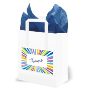 Brightly Coloured Kids Party Bags with Blue Tissue Paper