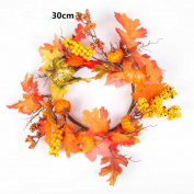 Sansee Berry Maple Leaf Fall Door Wreath Door Wall Ornament Thanksgiving/Halloween Decoration