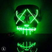 CALISTOUS EL Wire DJ Party Festival Halloween Costume El Light Up LED Mask Green