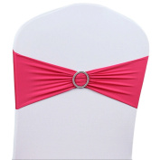 LUVCALS 10PCS Spandex Stretch Wedding Chair Cover Band Sashes With Buckle Bow Slider Party Banquet Decor