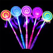 AAA226 LED Light up Flashing Fairy Magic Wand Princess Lollipop Stick Girl Xmas Gift-Random Colour
