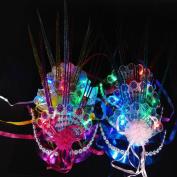 Glowing Flashing Party Mask, Colourful Fluorescent Peacock Raindrop Mask Masquerade Party Princess Mask By Kolylong