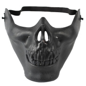 Ruikey Skull Skeleton Mask Airsoft Paintball BB Gun Half Face Protect Mask CS Warrior Mask Cosplay Props for Halloween