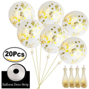 Outee 20 Pcs Confetti Balloons Gold Confetti Filled Clear Balloons Latex Clear Party Balloons with a Balloon Deco Strip for Wedding Birthday Party Decorations