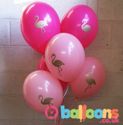 10 Flamingo Balloons with Free Ribbon